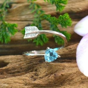 Genuine Blue Topaz on 925 sterling silver ring